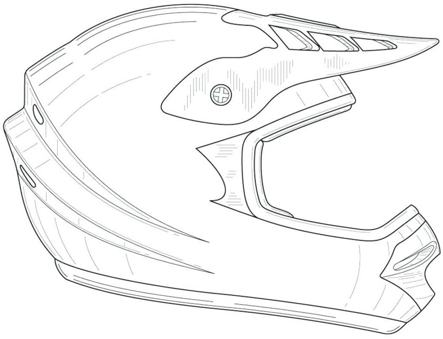 Dessin de casque de moto cross